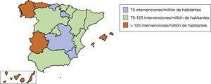 Distribución de la tasa de intervenciones de revascularización coronaria aislada por millón de habitantes al año en las distintas comunidades autónomas.