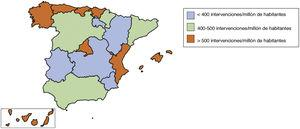Distribución de la media de intervenciones cardiacas mayores por millón de habitantes, estratificadas por comunidad autónoma.