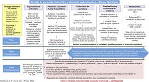 Representación esquemática del flujo de pacientes con el virus de la COVID-19 y organización del trabajo durante el proceso quirúrgico. Fuente: Modificado de Ti et al.