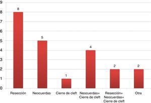 Técnica de reparación (cifras expresadas en número de casos).