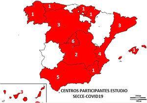 Mapa de España indicando los servicios que contestaron la encuesta agregados por comunidades autónomas. Total 32 servicios de 13 comunidades autónomas.