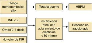 Esquema sobre indicaciones de la terapia puente en paciente con anticoagulantes orales. HBPM: heparinas de bajo peso molecular; INR: índice internacional normalizado. Fuente: elaboración propia.