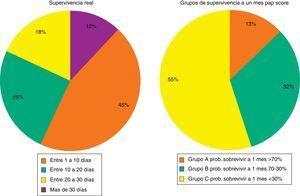Grupos de supervivencias reales y grupos clasificados por la escala PaP score.