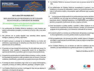 Declaración de los profesionales de Cuidados Paliativos de la Comunidad de Madrid.