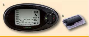 DexCom SEVEN® PLUS. A) DexCom receiver unit, dimensions 11.4 × 5.8 × 2.2 cm. B) DexCom sensor and transmitter, dimensions 3.8 × 2.3 × 0.4 cm. Courtesy of DexCom™, San Diego, CA