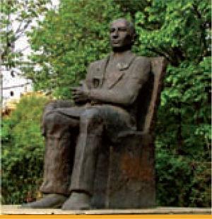 Paulescu's statue near the Faculty of Medicine, University of Bucharest