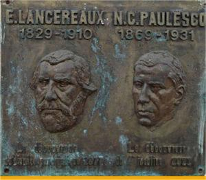 "A copy of the plate dedicated to Lancereaux and Paulescu (Institute of Diabetes, Nutrition and Metabolic Disease ""N. Paulescu"", Bucharest)"