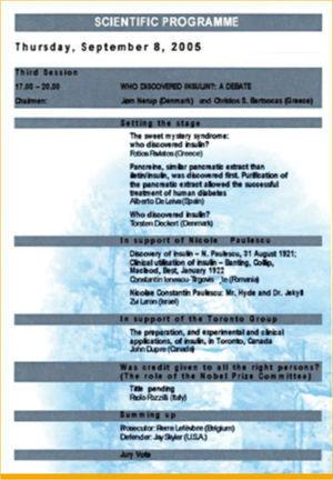 The scientific programme of the EASD Symposium: Who Discovered Insulin? Delphi, September 2005