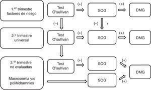 Estrategia diagnóstica de diabetes gestacional en el embarazo. SOG: sobrecarga oral de glucosa de 100g&#59; * Opcionalmente se puede realizar test de O'Sullivan3.