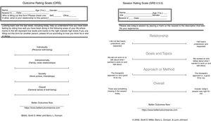 The Outcome Rating Scale (ORS) and Session Rating Scale (SRS). Copyright 2000, 2002, respectively by B. L. Duncan and S. D. Miller. For examination only. Free working copies for individual use in 28 languages are available at https://www.betteroutcomesnow.com/.