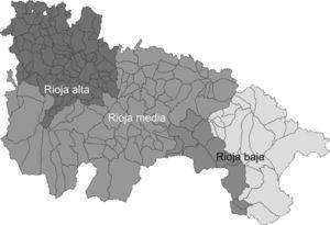 Distribución de la áreas geográficas de la Rioja (rojo, verde y amarillo corresponde al valle riojano y marrón, naranja y gris a la sierra riojana). Zonas más pobladas son el valle de la Rioja media y Rioja baja.