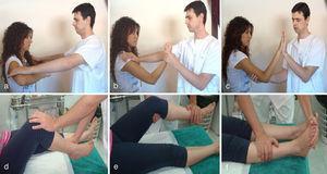 Exploración de la fuerza: A. Músculo deltoides. B. Músculo bíceps C. Músculo tríceps D. Flexores de la rodilla E. Extensores de la rodilla. F. Flexores plantares del tobillo.