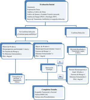 Hematospermia: algoritmo de actuación desde atención primaria. Algoritmo de elaboración propia, basado en la revisión actualizada sobre la hematospermia1–10. a PSA (Antígeno Prostático Específico) b ITS (Enfermedad de Transmisión Sexual) c Factores de Riesgo: pérdida de peso, hematuria, sudoración nocturna, adenopatías ó dolor óseo. d Síntomas Estructurales: dolor, incontinencia, nicturia, ó retención.