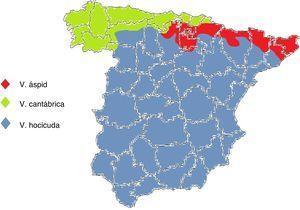 Distribución geográfica de las víboras en España.