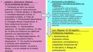 La lista general y los «problemas maestros» para la «Sra. Ariadna», de 30 años de edad.