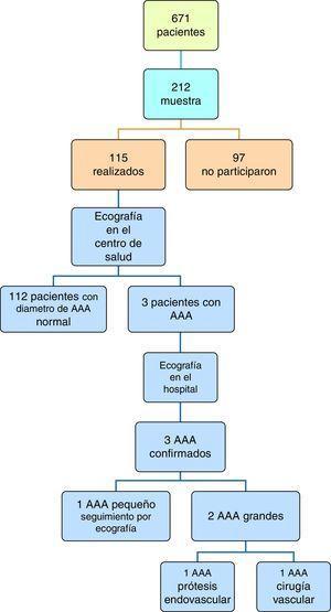Esquema del proceso y resultados del estudio. AAA: aneurisma de aorta abdominal.