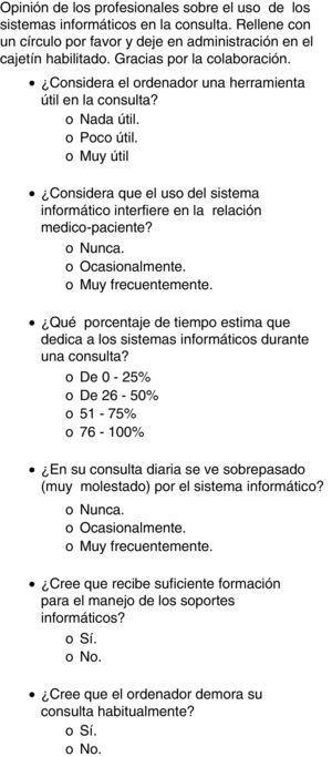 Cuestionario médico.