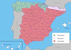Distribución geográfica de los diferentes tipos de víboras que habitan en nuestro país.