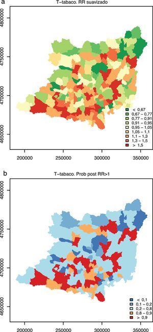 Distribución geográfica de los riesgos relativos suavizados (a) y de la probabilidad posprueba (b) de la incidencia de los tumores relacionados con el tabaco en el Área de Salud de León (1997-2014).
