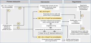 Estrategia del tratamiento de la obesidad (modificado de Bray et al.22). Algoritmo de tratamiento farmacológico, adaptado del consenso ibérico para el estudio de la obesidad de España y Portugal28. FRCV: factores de riesgo cardiovascular; IMC: índice de masa corporal.