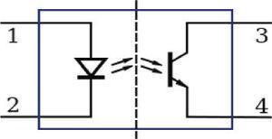 Símbolo eléctrico de un opto acoplador.
