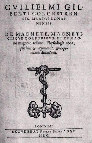 Front cover of the book De magnete… by Dr. William Gilbert (London, 1600).