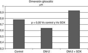 La dimensión del glucocáliz observada en los vasos sublinguales de individuos con diabetes mellitus tipo 2 es menor que en los controles sanos. Después de 2 meses de tratamiento con sulodexida (SDX) por vía oral las dimensiones del glucocáliz se incrementaron hasta alcanzar valores normales. Se ilustran los valores medios. Con datos de Broekhuizen et al.82.