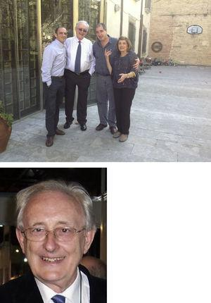 El Dr. Bayés de Luna rodeado de su familia, discípulos y amigos. Con su compañera de toda la vida, apoyo emocional incondicional, para que el genio continúe su obra. Foto actual del Dr. Bayés de Luna. Cortesía archivo personal del Dr. Baranchuk.
