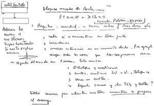 Manuscrito del Dr. Bayés donde todavía explica sus conceptos escribiendo y dibujando sus visiones. Eso le permite al alumno visualizar sus ideas, y acompañarlo en la experiencia de investigar sus proyectos. Cortesía archivo personal del Dr. Baranchuk.