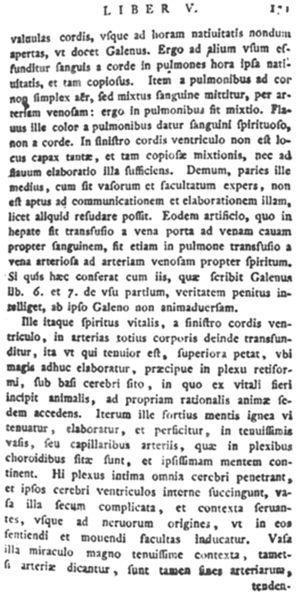 Una página del libro Christianismi restitutio, de Miguel Servet, con la descripción de la circulación pulmonar (1553).