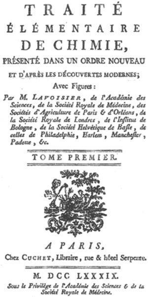 Traité élémentaire de chimie, de A.L. Lavoisier (París, 1789).