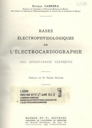Libro de Electrocardiografía, por el Dr. Enrique Cabrera (París, 1950).