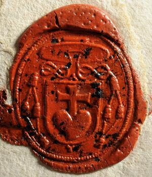 Stensen's seal on his letter written in Hanover, Germany, on April 19, 1678 on the Julian calendar to the Grand Duke of Tuscany Cosimo III de' Medici (1642–1723).