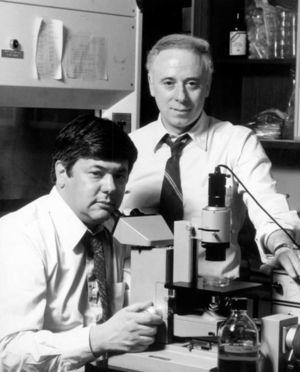 La fotografía muestra en el laboratorio a Michael S. Brown y Joseph L. Goldstein (circa 1975).