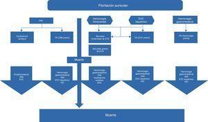 Modelo estructural de los eventos que ocurren en pacientes con fibrilación auricular que aumentan la morbimortalidad, generando costos adicionales al tratamiento individualizado. EVC: evento vascular cerebral; FA: fibrilación auricular; HIC: hemorragia intracraneal; IAM: infarto agudo de miocardio. Modificado de Wisløff et al.50.