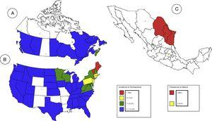 Incidencia de la enfermedad de Lyme en EE. UU. y Canadá durante el año 2015, y prevalencia de la enfermedad de Lyme en México durante el año 2003. Panel A: Mapa perteneciente a Canadá. Nótese que la provincia con mayor incidencia durante ese año fue Nova Scotia (26.1%). Toda la frontera con EE. UU., excepto Saskatchewan se considera endémica para enfermedad de Lyme. Reproducido con modificaciones de la pagina web oficial del gobierno de Canadá 10. Panel B: Mapa perteneciente a EE.UU. El 95% de los casos nuevos de enfermedad de Lyme durante 2015 sucedieron en la frontera noreste con Canadá. Se observa que es una enfermedad emergente en la frontera sureste con México. Reproducido con modficaciones de la pagina web oficial de la CDC (Centers for Disease Control and Prevention) 9. Panel C: Mapa perteneciente a México. El último estudio donde se demuestra la prevalencia de la enfermedad de Lyme en México fue en 2003. Desde entonces, México no cuenta con un análisis que demuestre su prevalencia o incidencia actual de este padecimiento. La mayor prevalencia durante ese año se presenta en el noreste del país, siendo la frontera noreste entre México y EE. UU. Reproducido con modificaciones del estudio epidemiológico de Gordillo- Pérez et al., 11.