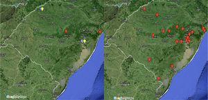 Mapa da esquerda, municípios no RS das usuárias que engravidaram&#59; mapa da direita, municípios do RS das usuárias que desistiram ou adiaram o tratamento.