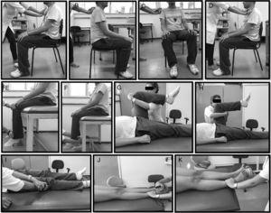 Measurement of muscle strength with the hand-held dynamometer. (A) Trunk flexors&#59; (B) trunk extensors&#59; (C) lateral trunk flexors&#59; (D) lateral trunk rotators&#59; (E) knee extensors&#59; (F) knee flexors&#59; (G) hip flexors&#59; (H) hip extensors&#59; (I) hip abductors&#59; (J) ankle dorsiflexors&#59; (K) ankle plantarflexors.