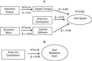Regression models illustrate the contribution (or lack of contribution) from energy generation and conservation variables. (A) Primary predictive model of gait speed; secondary models (elastic torque and vertical stiffness). (B) Primary predictive model of gait metabolic cost.