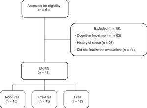 Flow chart of sample selection in a study about complexity of knee extensor torque in patients with frailty syndrome.