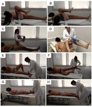 Subjects' positions during hip range of motion assessments (A–D) and isometric muscle strength measurements (E–H). Active flexion (A), passive flexion (B), passive external rotation (C) and active internal rotation (D) were measured with a goniometer. Hip adductors (E), hip abductors (F), hip flexors (G) and hip extensors (H) strength measurements with a hand held dynamometer.