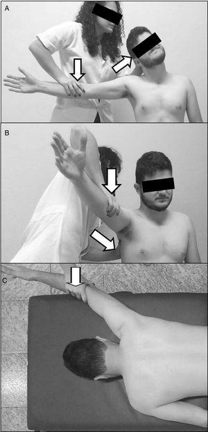 Maximal voluntary isometric contraction tests of the upper trapezius (A), serratus anterior (B), and lower trapezius (C). The arrows indicate the direction of the force applied by the examiner.