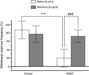 Effect of opioid spinal receptors in the antihyperalgesic effect of WWIT. Mice's CFA injected hindpaw after treatment in control water 25°C immersion+Saline i.t. (white bar) or WWIT 35°C (white bar). Half the mice received an i.t. injection of naloxone prior to control water 25°C immersion (gray bar) or WWIT 35°C (gray bar). Results show the antihyperalgesic effect of WWIT 35°C and how injection of naloxone nullify that effect. Each point represents the mean of eight animals; vertical lines show SD. WWIT, warm water immersion therapy; ***P<.001 and ###P<.001.