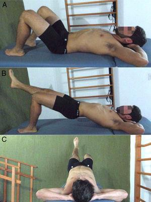 Bridge test with unilateral knee extension. Participant posture before performing the test (A); lateral (B) and posterior (C) view of the bridge test.