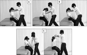 Proprioceptive neuromuscular facilitation training, rhythmic stabilization (A), combination of isotonics (B) and chop and lift (C).