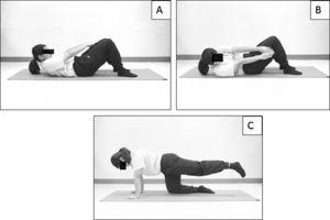 General trunk exercises, trunk curl-up (A), diagonal trunk curl (B) and single-legged extension (C).
