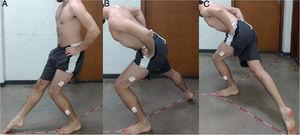 Performance of the modified Star Excursion Balance Test on the dominant limb as the support limb. For the test each athlete performs maximal reaches with the swing limb in the anterior (A), posteromedial (B) and posterolateral (C) directions.