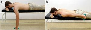 Prone extension. Exercise starts with the individual in prone with the arm at 90° of forward flexion (A). Perform extension to neutral position with the shoulder in neutral rotation (B).