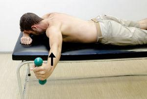 Prone horizontal abduction. Exercise starts with the individual in prone and arm abducted to 90° with external rotation. Perform horizontal abduction.