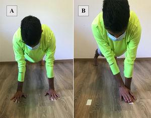Modified Closed Kinetic Chain Upper Extremity Stability Test. (A) Starting position. (B) Ending position.